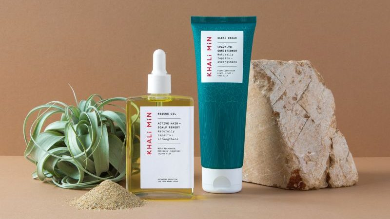 Magpie Studio's identity for a new plant-based haircare range with roots in Egypt